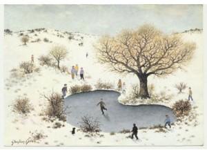 Дети на коньках: открытка