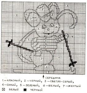 Пуловер с мышонком - детский, вязание спицами, схема