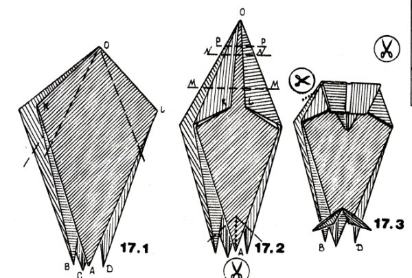 Сова, оригами, схема