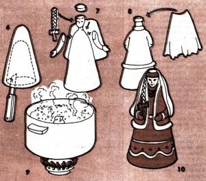 Поделки из пластики, кукла в народном костюме