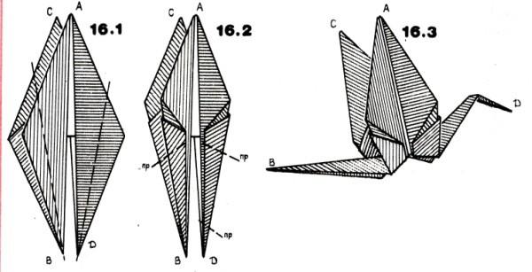 Журавлик, оригами, схема